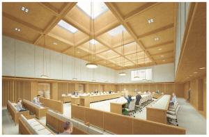 Een impressie van het technisch ontwerp voor de raadzaal. © Gemeente Groningen